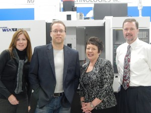 (from left) Kathy Bailey, Business Services Representative from Finger Lakes Works – Ontario County, Kevin Lootens, President of CNC Technical Services, Karen Springmeier, Executive Director of the FLWIB, and Brian Young, Director of Finger Lakes Works – Ontario County.