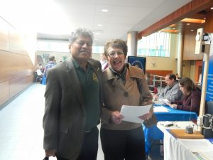 Dr. Sam Samanta with FLWIB's Executive Director, Karen Springmeier, at our April 19th Finger Lakes Job Fair at FLCC.